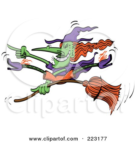 Royalty-Free (RF) Clipart Illustration of a Crazy Green Halloween Witch Doing Tricks On Her Broomstick by Zooco