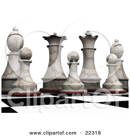 Clipart Illustration of King, Queen, Bishop And Pawn Ivory Chess Pieces Lined Up And Prepared For Battle On A Chessboard by KJ Pargeter