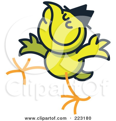 Royalty-Free (RF) Clipart Illustration of a Yellow Chicken Wearing A Hat by Zooco