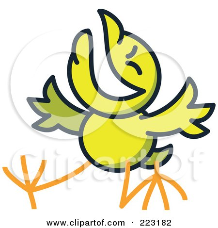 Royalty-Free (RF) Clipart Illustration of a Yellow Chicken Laughing by Zooco