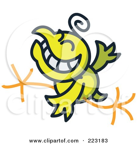 Royalty-Free (RF) Clipart Illustration of a Yellow Chicken Grinning And Running by Zooco
