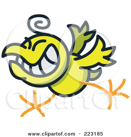 Royalty-Free (RF) Clipart Illustration of a Yellow Rock And Roll Chicken by Zooco