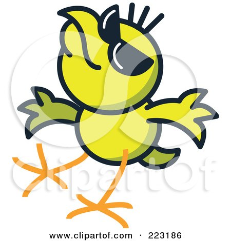 Royalty-Free (RF) Clipart Illustration of a Yellow Chicken Wearing Shades by Zooco