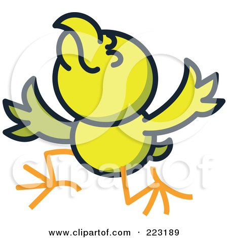 Royalty-Free (RF) Clipart Illustration of a Yellow Chicken Acting And Holding His Wings Up by Zooco