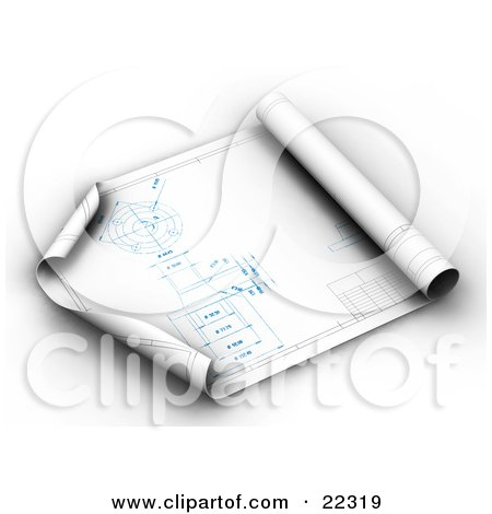 Clipart Illustration of an Architect's Blueprints Partially Rolled Up, With The Corners Curling by KJ Pargeter
