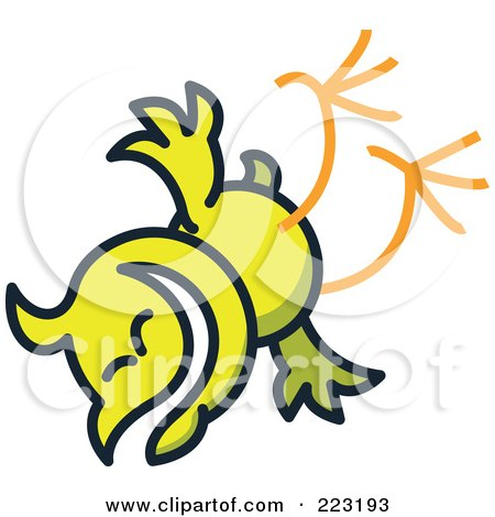 Royalty-Free (RF) Clipart Illustration of a Yellow Chicken Falling by Zooco