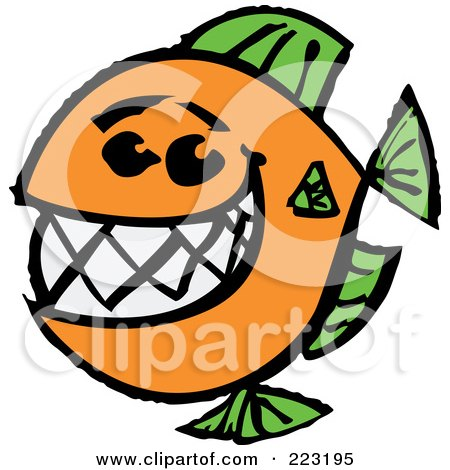 Royalty-Free (RF) Clipart Illustration of a Happy Orange And Green Fish With A Big Toothy Smile by Zooco