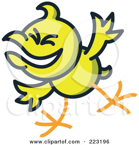 Royalty-Free (RF) Clipart Illustration of a Yellow Chicken Mocking by Zooco