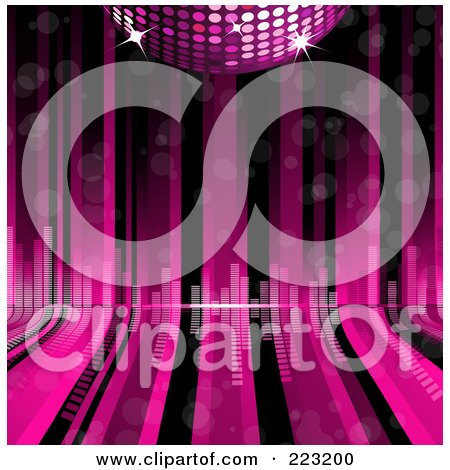 Royalty-Free (RF) Clipart Illustration of a Pink 3d Disco Ball Over Pink And Black Curving Lines With Equalizer Bars by elaineitalia