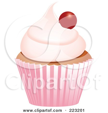 Royalty-Free (RF) Clipart Illustration of a Cherry Topped Cupcake In A Pink Wrapper by elaineitalia