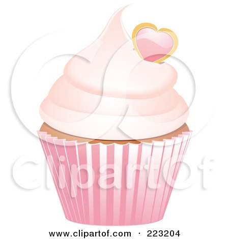 Royalty-Free (RF) Clipart Illustration of a Heart Garnished Cupcake In A Pink Wrapper by elaineitalia