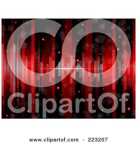 Royalty-Free (RF) Clipart Illustration of a Glittery Red And Black Lined Background With Equalizer Bars by elaineitalia