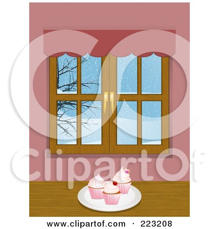 Royalty-Free (RF) Clipart Illustration of a Plate Of Cupcakes Near A Window With A Winter Scene by elaineitalia
