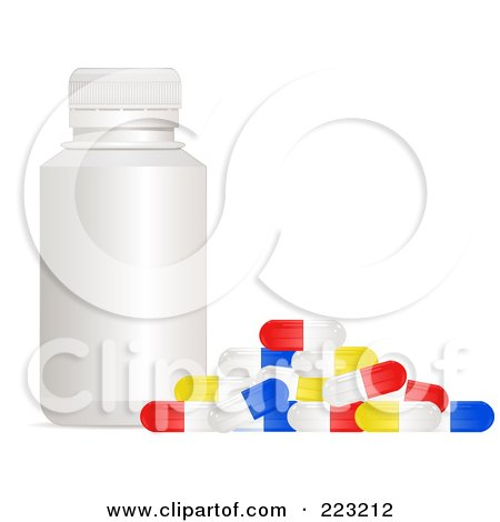 Royalty-Free (RF) Clipart Illustration of a White Bottle With Colorful Pill Capsules by elaineitalia