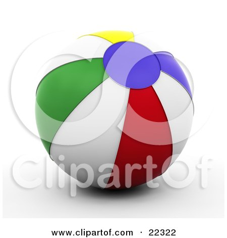 RoyaltyFree RF Clipart Illustration of a Coloring Page Outline Of A Beach Ball With Stripes