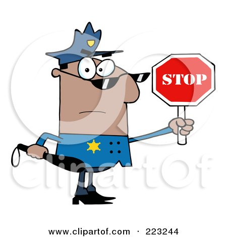 Royalty-Free (RF) Clipart Illustration of a Black Police Officer Holding A Stop Sign And Club by Hit Toon