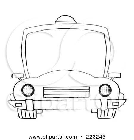 Royalty-Free (RF) Clipart Illustration of a Coloring Page Outline Of A Frontal View Of A Police Car With A Light On The Roof by Hit Toon