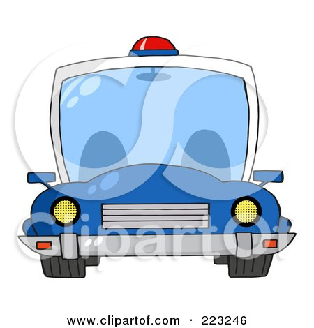 Royalty-Free (RF) Clipart Illustration of a Frontal View Of A Blue Police Car With A Light On The Roof by Hit Toon