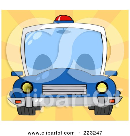 Royalty-Free (RF) Clipart Illustration of a Frontal View Of A Blue Cop Car With A Light On The Roof by Hit Toon