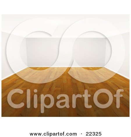 Clipart Illustration of The Interior Of An Empty Room With Wood Floors And White Walls by KJ Pargeter