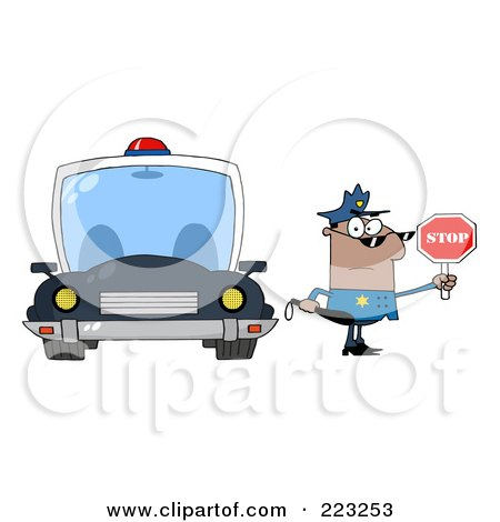 Royalty-Free (RF) Clipart Illustration of a Black Police Officer Holding A Stop Sign And Standing By His Vehicle by Hit Toon