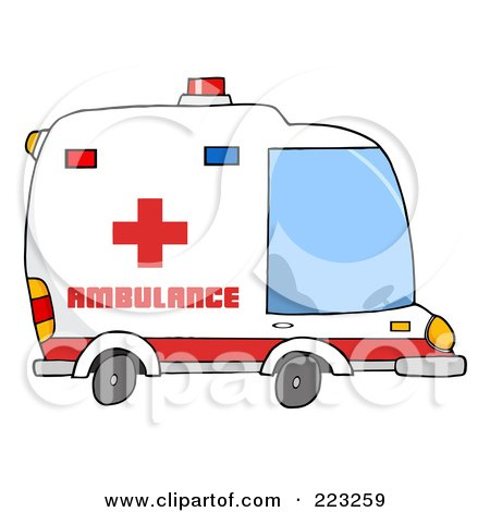 Royalty-Free (RF) Clipart Illustration of an Ambulance Vehicle by Hit Toon