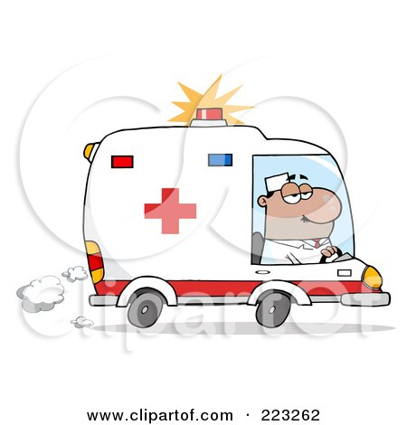 Royalty-Free (RF) Clipart Illustration of a Hispanic Man Driving An Ambulance by Hit Toon