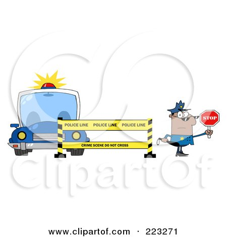 Royalty-Free (RF) Clipart Illustration of a Black Police Man Holding A Stop Sign By A Police Line And Car by Hit Toon