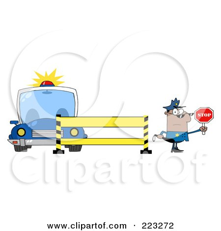 Royalty-Free (RF) Clipart Illustration of a Black Police Man Holding A Stop Sign By A Barrier And Car by Hit Toon