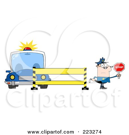 Royalty-Free (RF) Clipart Illustration of a Caucasian Police Man Holding A Stop Sign By A Police Line And Car by Hit Toon