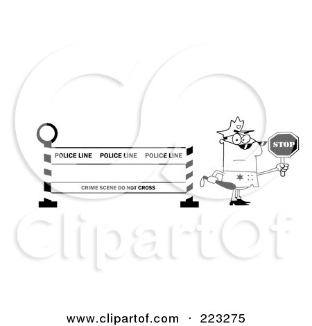 Royalty-Free (RF) Clipart Illustration of a Coloring Page Outline Of A Police Officer Holding A Stop Sign By A Police Line Barrier by Hit Toon