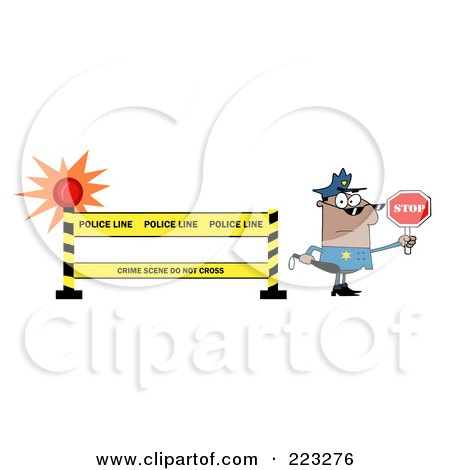 Royalty-Free (RF) Clipart Illustration of a Black Police Officer Holding A Stop Sign By A Police Line Barrier by Hit Toon