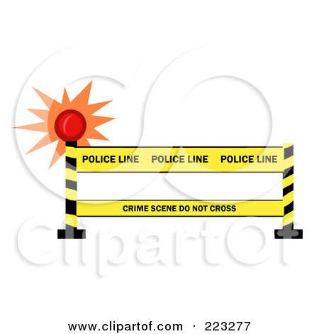 Royalty-Free (RF) Clipart Illustration of a Shining Light By A Police Line Barrier by Hit Toon