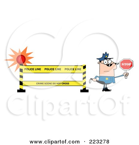 Royalty-Free (RF) Clipart Illustration of a White Police Officer Holding A Stop Sign By A Police Line Barrier by Hit Toon