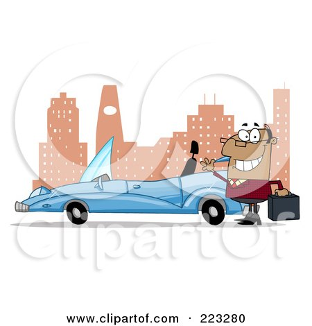 Royalty-Free (RF) Clipart Illustration of a Black Businessman Waving By His Convertible Car In The City by Hit Toon