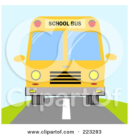Royalty-Free (RF) Clipart Illustration of a Frontal View Of A Yellow School Bus On The Road by Hit Toon