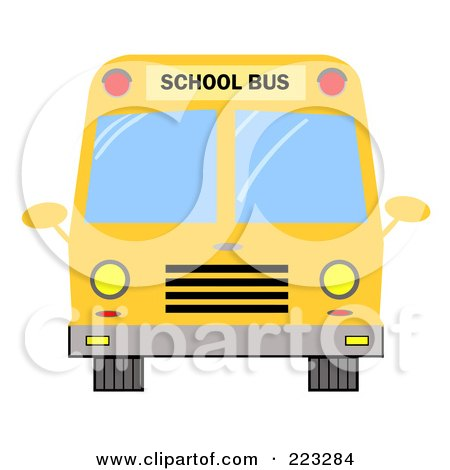 Royalty-Free (RF) Clipart Illustration of a Frontal View Of A Yellow School Bus by Hit Toon