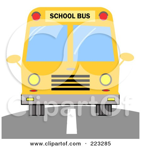 Royalty-Free (RF) Clipart Illustration of a Frontal View Of A Driving Yellow School Bus by Hit Toon