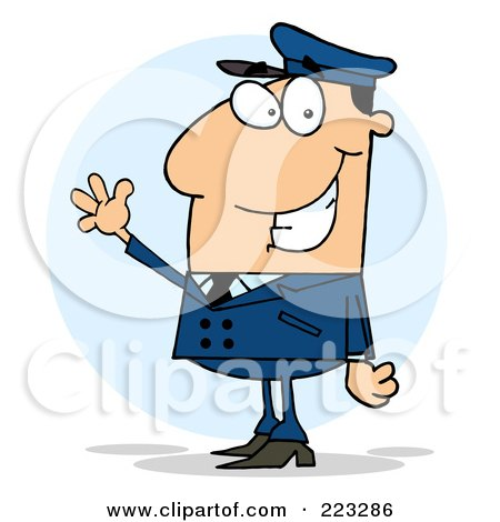 Royalty-Free (RF) Clipart Illustration of a Waving White School Bus Driver In A Blue Uniform by Hit Toon