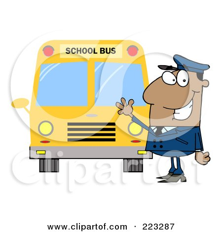 Royalty-Free (RF) Clipart Illustration of a Friendly Black School Bus Driver Waving By A Bus by Hit Toon