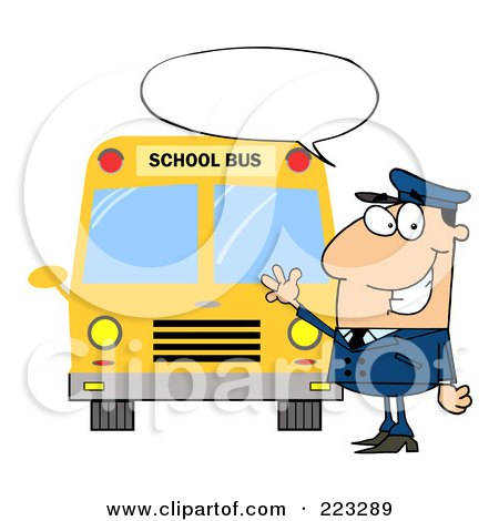 Royalty-Free (RF) Clipart Illustration of a Friendly Caucasian School Bus Driver With A Word Balloon, Waving By A Bus by Hit Toon