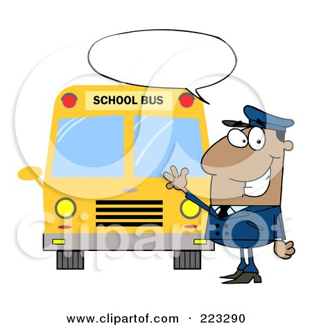 Royalty-Free (RF) Clipart Illustration of a Friendly African American School Bus Driver With A Word Balloon, Waving By A Bus by Hit Toon