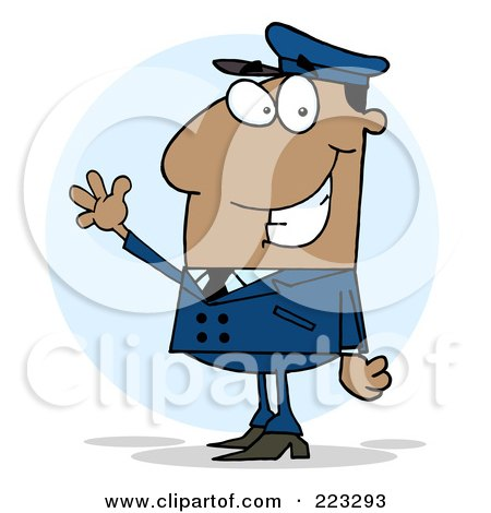 Royalty-Free (RF) Clipart Illustration of a Waving African American School Bus Driver In A Blue Uniform by Hit Toon