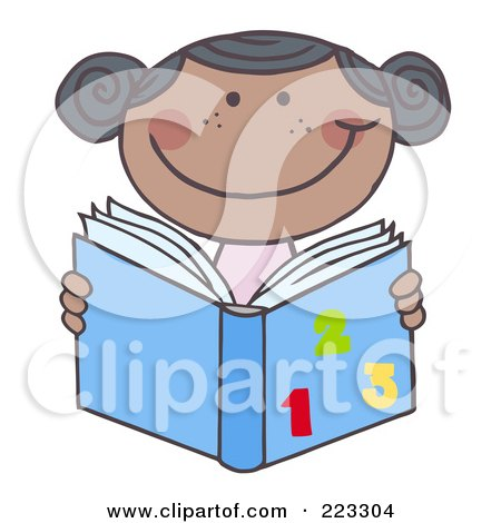 Royalty-Free (RF) Clipart Illustration of a Black School Girl Reading A Math Book by Hit Toon