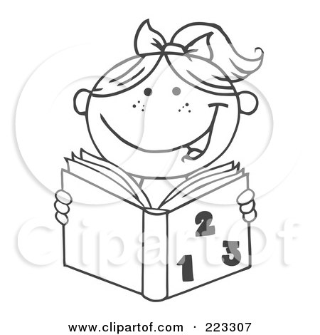 Coloring Page Outline Of A Girl Reading A Math Book