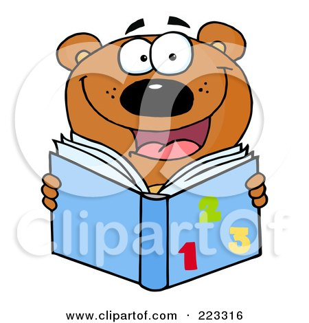 Royalty-Free (RF) Clipart Illustration of a Happy School Bear Reading A Math Book by Hit Toon