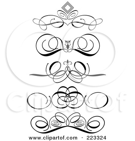 Royalty-Free (RF) Clipart Illustration of a Digital Collage Of Ornamental Black And White Scroll Designs, On A White Background by KJ Pargeter