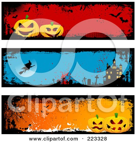 Royalty-Free (RF) Clipart Illustration of a Digital Collage Of Three Grungy Halloween Pumpkin, Witch And Haunted House Headers by KJ Pargeter