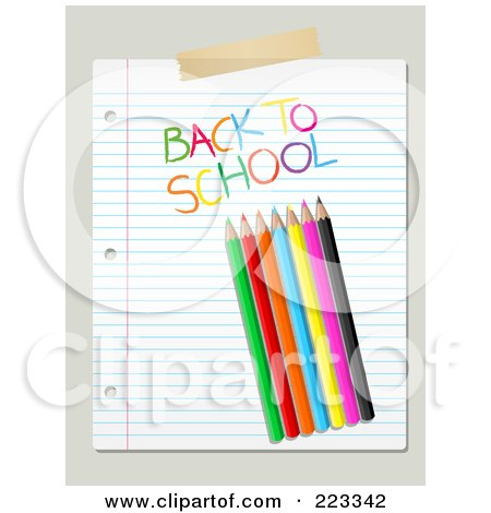 Royalty-Free (RF) Clipart Illustration of Colored Pencils And Back To School Writing On Ruled Paper Over Beige by KJ Pargeter