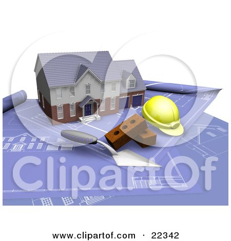 Clipart Illustration of a Custom Two Story Residential Home, A Trowel, Bricks And A Hardhat On Top Of Blueprints by KJ Pargeter